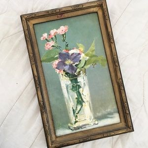 VTG Framed Flower Manet Print